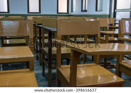 The wooden chair in Thailand class room