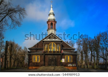 The wooden church in the city of Lodz, Poland