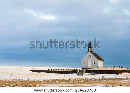 The Wooden Churh on the Southern Coast of Iceland, called Strandarkirkja - stock photo