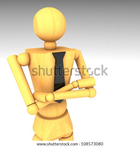 The wooden doll 3d illustration - stock photo