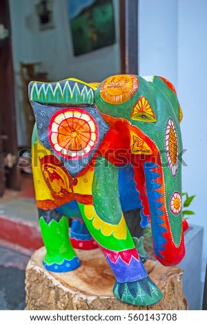 The wooden elephant, decorated with colorful patterns at the entrance to the art gallery in Galle Fort, Sri Lanka.