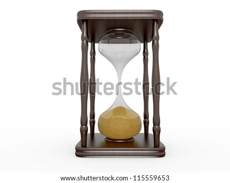 The wooden hourglasses on a white background