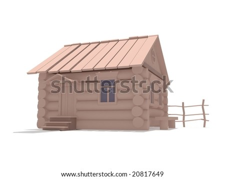 The wooden old house costs on a white background
