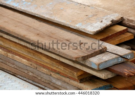 The wooden pallet bunch in warehouse  - stock photo