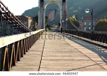 The wooden pedestrian bridge in Tain, France