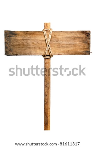 The wooden plaque on a column isolated on a white background