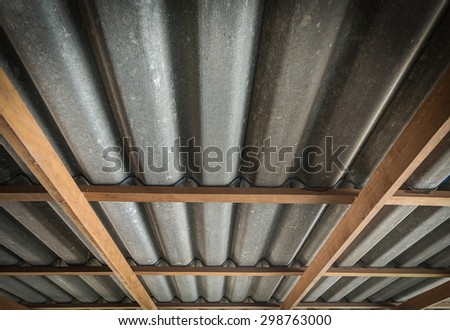 The wooden roof structure - stock photo