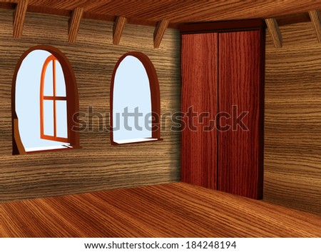 The wooden room with a case and two windows - stock photo