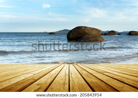 The wooden structures of offshore platforms - stock photo