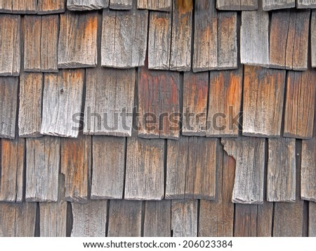The wooden wall of a building in the Alps - stock photo
