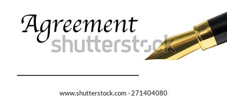 the word Agreement with golden fountain pen - stock photo