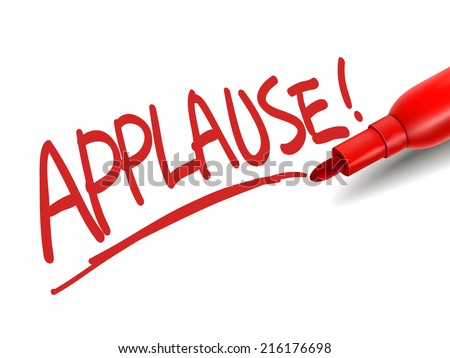 the word applause with a red marker over white - stock photo
