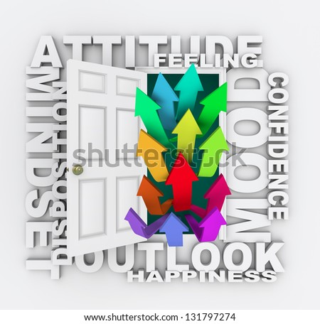 The word Attitude over an open door with arrows going up symbolizing an improving mood, mindset, attitude, confidence, disposition or feeling - stock photo