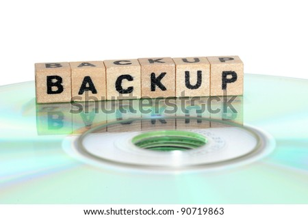 The word backup written in wooden letters standing on a computer-CD - stock photo
