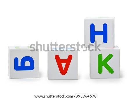 The word Bank at the scattered cubes - stock photo
