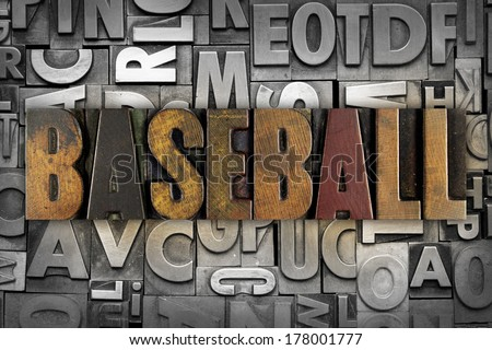 The word BASEBALL written in vintage letterpress type