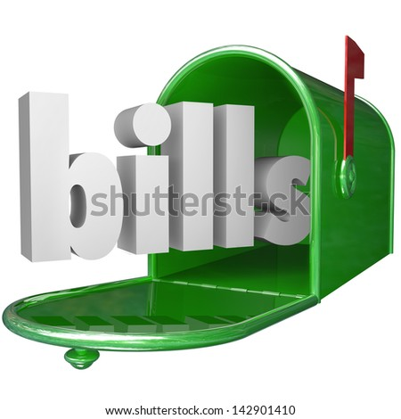 The word Bills in a green metal mailbox to illustrate your debt such as credit card and utilities payments, mortgage and other amounts of money you owe - stock photo