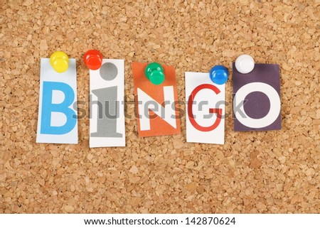 The word Bingo in cut out magazine letters pinned to a cork notice board. Bingo is a gambling game and the word is used to announce a full house or for someone providing a solution or answer - stock photo