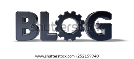 the word blog with gear wheel - 3d illustration - stock photo