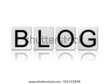 "The word ""Blog"" written in tile letters isolated on a white background."