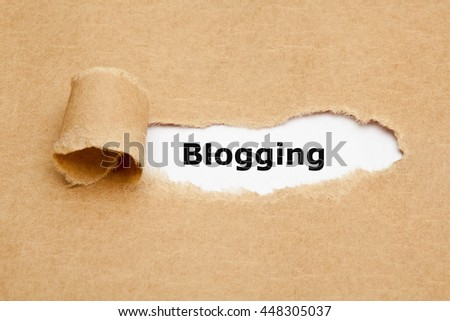 The word Blogging appearing behind ripped brown paper.