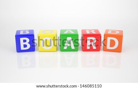 The Word Board out of multicolored Letter Dices - stock photo