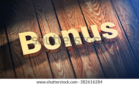 """The word """"Bonus"""" is lined with gold letters on wooden planks. 3D illustration picture - stock photo"""