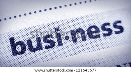 the word business in an English glossary, super macro