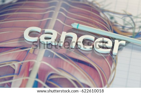 "The word ""cancer"" on a reflective digital surface with anatomical imagery of lungs. beneath.Medical technology. 3d illustration."