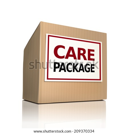 the word care package on a paper box over white background