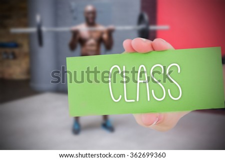 The word class and hand showing card against