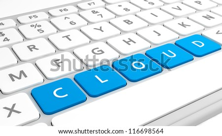 The word Cloud as keys on a keyboard in close up.