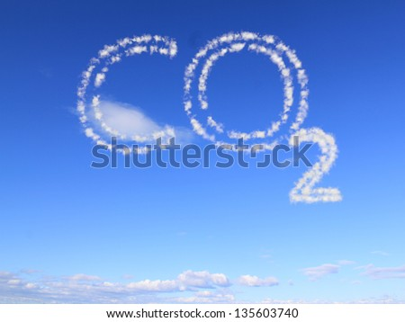 the word co2 as clouds in the blue sky - stock photo