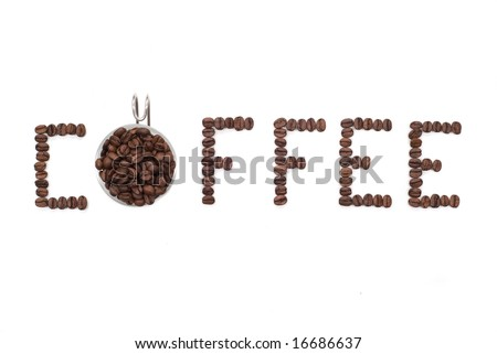 The word Coffee spelled with hundreds of coffee beans. Isolated against white background - stock photo