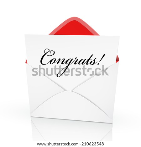 the word congrats on a card in an envelope - stock photo