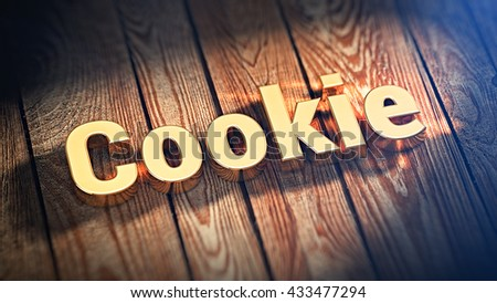 """The word """"Cookie"""" is lined with gold letters on wooden planks. 3D illustration image - stock photo"""