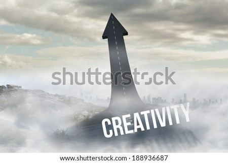 The word creativity against road turning into arrow