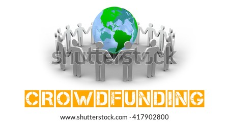The word crowdfunding against human figures surround earth - stock photo