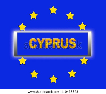 The word Cyprus and flag of Europe . - stock photo