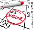 The word Deadline circled on a calendar to remind you of an important due date or countdown for your final answer, payment, project completion, or other vital milestone - stock photo