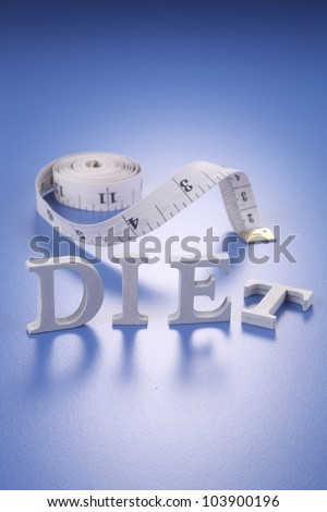 the word diet and tape measure