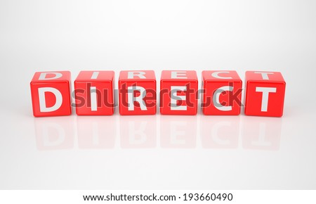 The Word Direct out of red Letter Dices on white background - stock photo