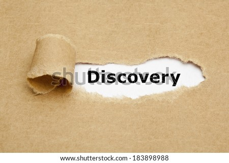 The word Discovery appearing behind torn brown paper. - stock photo