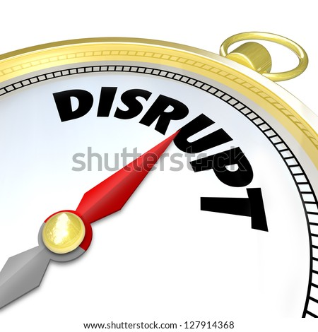 The word Disrupt on a compass symbolizing a new paradigm shift being applied to a traditional business model thanks to a revolutionary idea or technology - stock photo