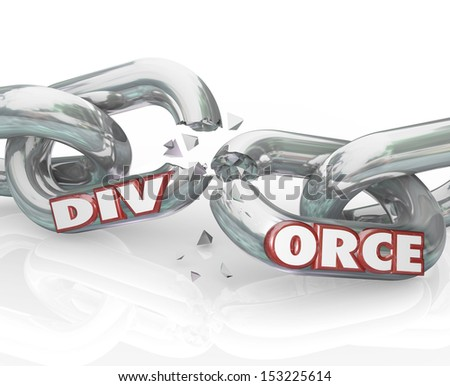 The word Divorce on breaking chain links to illustrate separation in a failed marraige between partners in a relationship - stock photo
