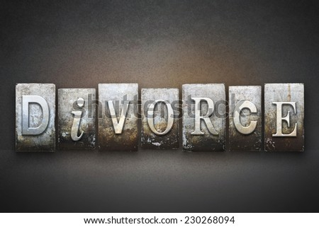 The word DIVORCE written in vintage letterpress type - stock photo