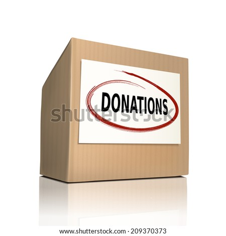 the word donations on a paper box over white background