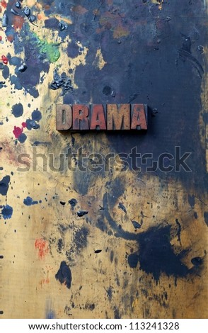 The word Drama written in antique letterpress printing blocks. - stock photo