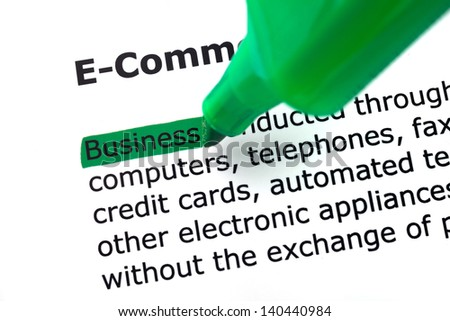 the word e-commerce, highlighted in green on white backgrounds