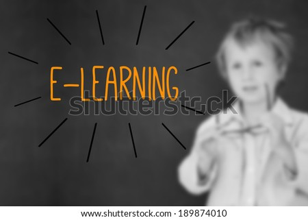The word e-learning against schoolboy and blackboard - stock photo